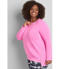 lane bryant women's livi french terry zip-hem tunic sweatshirt 14/16 bold pink