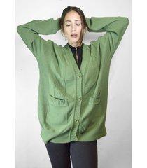 cardigan verde a lo juana oversize