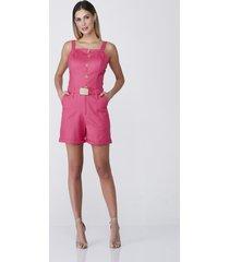 macaquinho celestine em linho pink - pink/rosa - feminino - linho - dafiti
