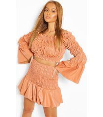 faux leather shirred bardot top, orange