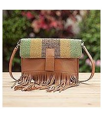 wool accent leather shoulder bag, 'earthen muse' (peru)