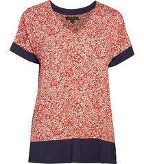 donna karan sleepwear women's ditsy-print layered top - orange - size s