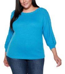 belldini black label plus size 3/4 sleeve boat neck sweater