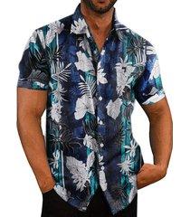 hombres verano algodón multicolor estampado tropical vacaciones playa bohemio camisa