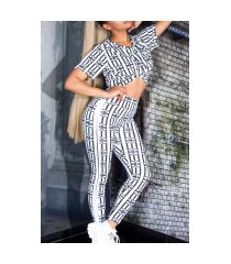 sexy luxury look set hoge taille leggings+t-shirt wit