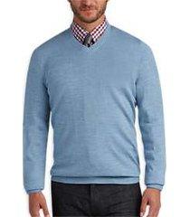 joseph abboud light blue v-neck merino wool sweater