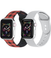 men's and women's buffalo plaid silver-tone metallic 2 piece silicone band for apple watch 42mm