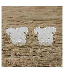 sterling silver stud earrings, 'westie' (thailand)