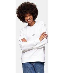 topman signature sweatshirt in white - white