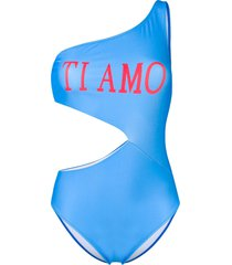 alberta ferretti one shoulder swimsuit - blue