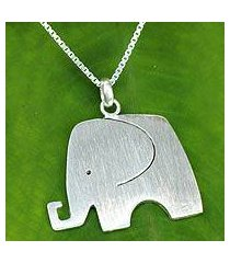 sterling silver pendant necklace, 'elephant jazz' (thailand)