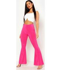 basic nauwsluitend skinny broek met hoge taille en uitlopende pijpen, warm roze