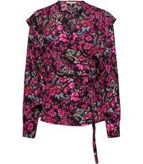 dora ls wrap top printed blus långärmad rosa soft rebels