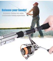 new automatic fishing rod sea river lake stainless steel fish pole hard storage