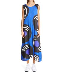 women's pleats please issey miyake record print pleated swing dress, size 3 - blue