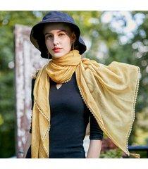 sciarpe di lino in cotone tinta unita con scialle sottile con frange in pizzo e parasole
