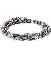 'asli classic chain' hematite bead double wrap bracelet