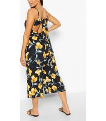 bloemenprint culotte jumpsuit met rug strik, navy