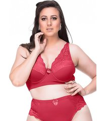 suti㣠sempre sensual lingerie vintage vermelho - vermelho - feminino - dafiti
