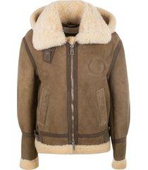chloé fur applique hooded zip jacket