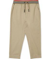burberry honey beige cotton trousers