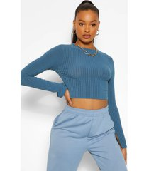 high neck split cuff knitted rib sweater, teal