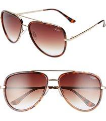 women's quay australia all in 58mm aviator sunglasses - tortoise/ brown fade