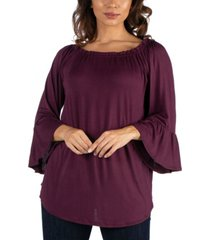 women's bell sleeve loose fit tunic top