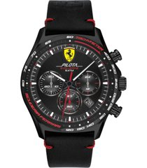 ferrari men's chronograph pilota evo black leather strap watch 44mm