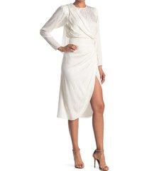 women's ronny kobo jade long sleeve silk blend jacquard dress, size medium - white