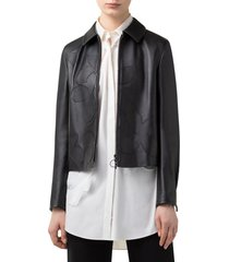 women's akris punto magnolia applique leather jacket, size 8 - black
