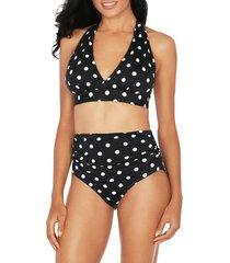 tahari women's polka dot-print halterneck bikini top - black - size s