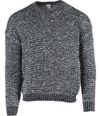 black and white melange crew-neck sweater