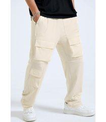 cintura elástica con bolsillo de velcros liso para hombre carga pantalones