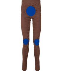 walter van beirendonck stippen ruched leggings - brown