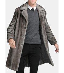 cappotto di pelliccia sintetica visone mens metà inverno caldo caldo sottile giacca casual adatta
