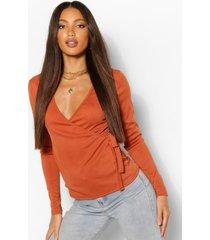 tall geribbelde wikkel top met lange mouwen, gebrand oranje