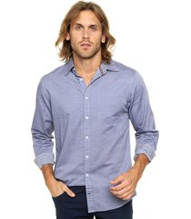 camisa azul tommy hilfiger slim fit lovell prt oxford nf3
