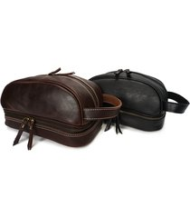 ekphero uomo vintage clutch in pelle vera a manufatto multifuzionale beauty case