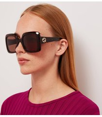 gucci women's gg square frame acetate sunglasses - havana/havana/brown