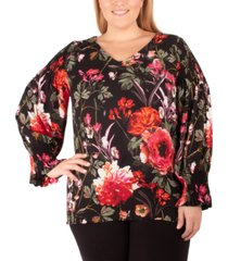 ny collection plus size v-neck printed top