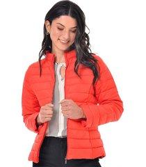 chaqueta para mujer en tafetan blanco color naranja talla s