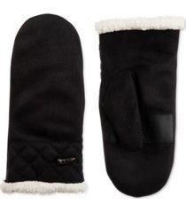 isotoner signature women's microsuede faux-sherpa-lined mittens