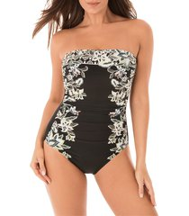 miraclesuit women's cloisonne avanit floral strapless one-piece swimsuit - black white - size 8
