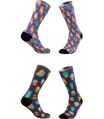 women's tribe socks assorted 2-pack cats & owls crew socks, size one size - blue