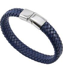 bracelete de aço inox tudo joias com couro antique black