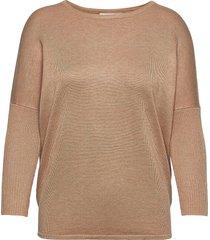 a2561, knit blouse w rib sl stickad tröja brun saint tropez