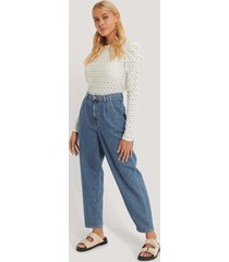 mango croppade jeans med hög midja - blue