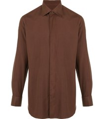 brioni pointed collar shirt - brown