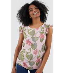 blusa mujer hojas color rosado, talla xs